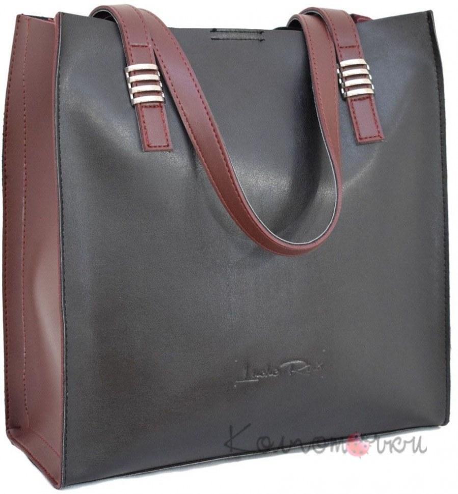 d632e902b1ba Купить Женская сумка экокожа черная бордо 547 ✅ (100% Лучшей Цене)